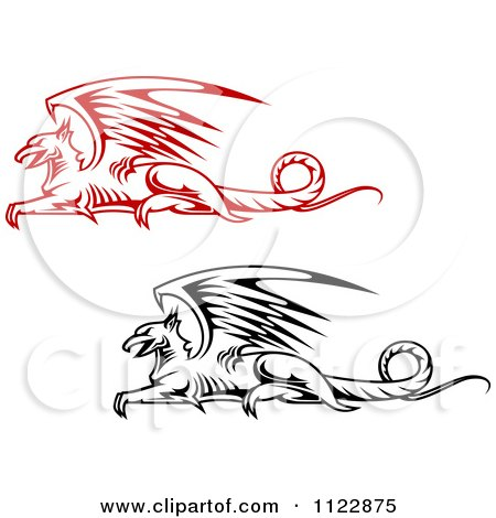 Clipart Of Resting Griffins 2 - Royalty Free Vector Illustration by Vector Tradition SM