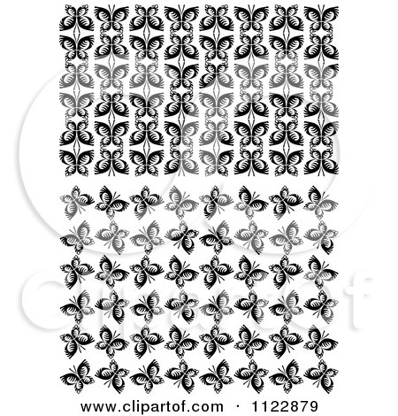 Clipart Of Black And White Butterfly Seamless Background Patterns - Royalty Free Vector Illustration by Vector Tradition SM
