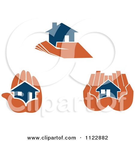 Clipart Of Blue Houses In Orange Hands - Royalty Free Vector Illustration by Vector Tradition SM