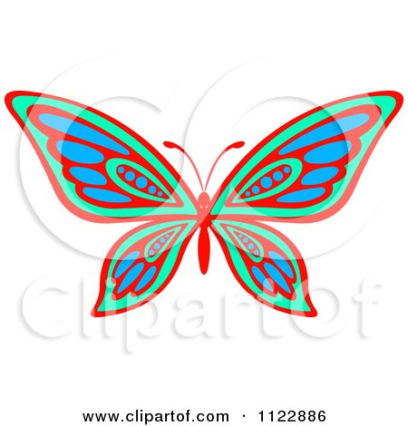 Clipart Of A Vibrant Green Red And Blue Butterfly - Royalty Free Vector Illustration by Vector Tradition SM