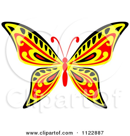 Clipart Of A Red Yellow And Black Butterfly - Royalty Free Vector Illustration by Vector Tradition SM