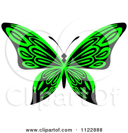 Clipart Of A Lime Green Butterfly - Royalty Free Vector Illustration by Vector Tradition SM