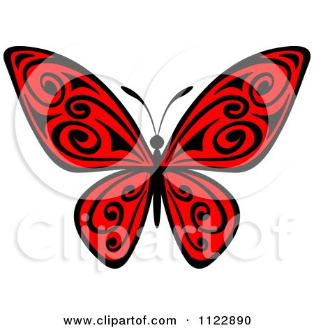 Clipart Of A Red Butterfly With Black Swirls - Royalty Free Vector Illustration by Vector Tradition SM