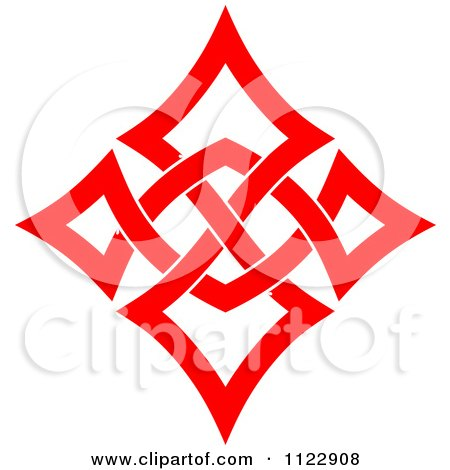 Clipart Of A Red Diamond Celtic Knot Poker Playing Card Symbol - Royalty Free Vector Illustration by Vector Tradition SM