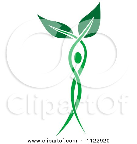 Clipart Of A Green Leaf Person 6 - Royalty Free Vector Illustration by Vector Tradition SM