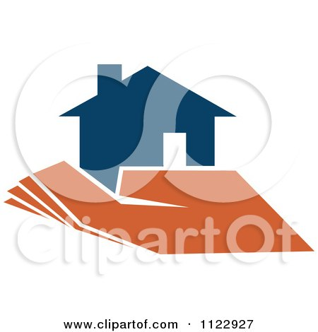 Clipart Of A Blue House In An Orange Hand 1 - Royalty Free Vector Illustration by Vector Tradition SM