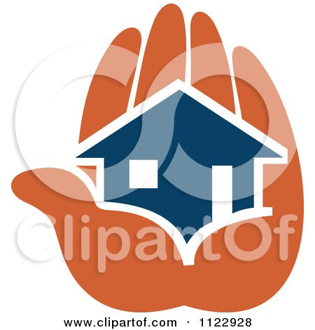 Clipart Of A Blue House In An Orange Hand 2 - Royalty Free Vector Illustration by Vector Tradition SM
