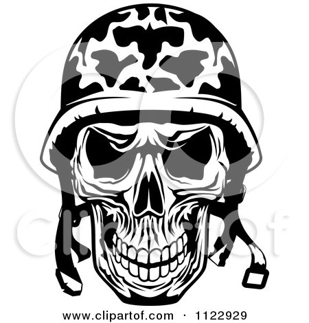 Clipart Of A Black And White Military Skull - Royalty Free Vector Illustration by Vector Tradition SM