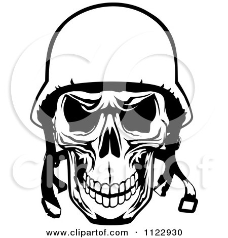 Clipart Of A Black And White Pilot Skull - Royalty Free Vector Illustration by Vector Tradition SM