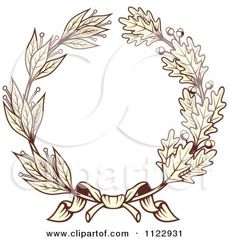 Clipart Of A Vintage Sepia Oak And Laurel Wreath 1 - Royalty Free Vector Illustration by Vector Tradition SM