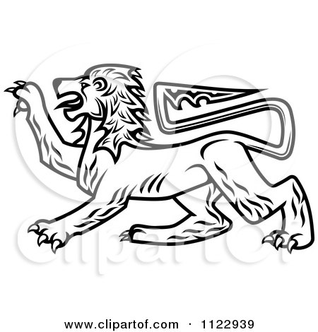 Clipart Of A Black And White Heraldic Lion 2 - Royalty Free Vector Illustration by Vector Tradition SM