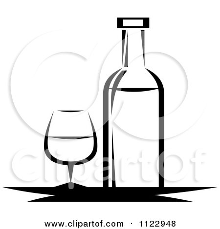 Clipart Of A Black And White Wine Bottle And Glass - Royalty Free Vector Illustration by Vector Tradition SM