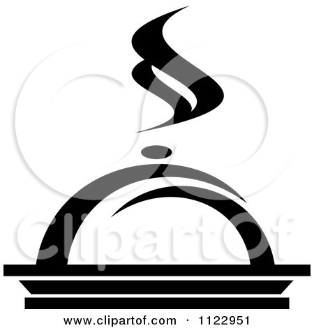 Clipart Of A Black And White Steamy Cloche And Platter - Royalty Free Vector Illustration by Vector Tradition SM