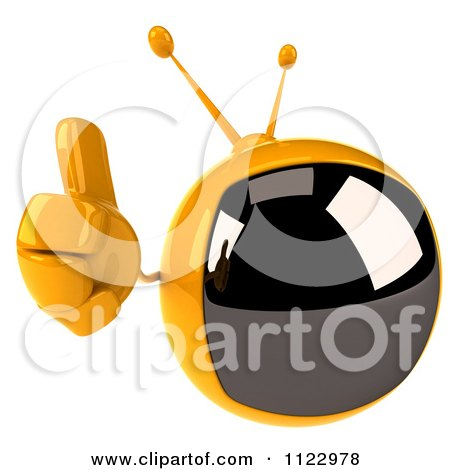 Clipart Of A 3d Retro Yellow TV Holding A Thumb Up - Royalty Free CGI Illustration by Julos