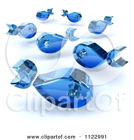 Clipart Of 3d Blue Glass Fish - Royalty Free CGI Illustration by Julos