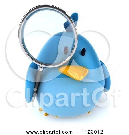 Clipart Of A 3d Bluebird Using A Magnifying Glass 2 - Royalty Free CGI Illustration by Julos