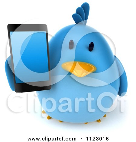 Clipart Of A 3d Bluebird Holding A Cell Phone 2 - Royalty Free CGI Illustration by Julos