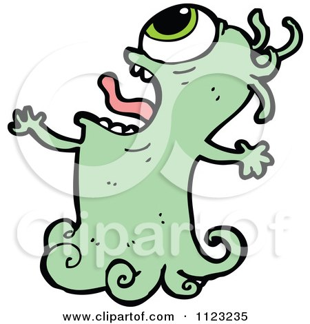 Fantasy Cartoon Of A Green Ghost - Royalty Free Vector Clipart by lineartestpilot