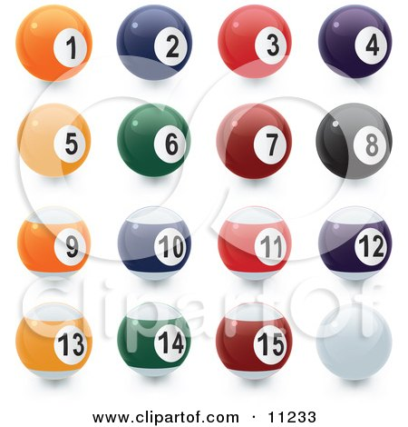 Line up of Each Ball of Billiards Pool Clipart Illustration by Leo Blanchette