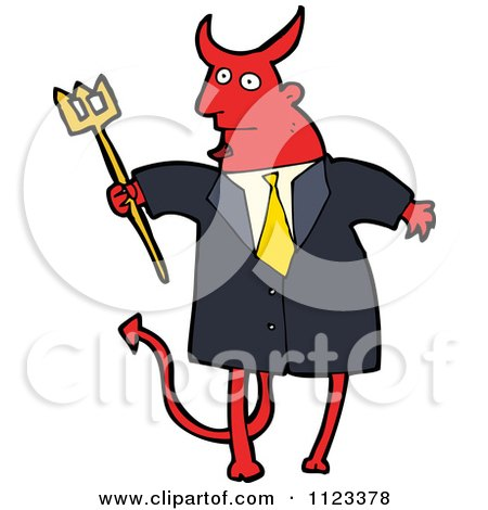 Fantasy Cartoon Of A Red Devil Monster 15 - Royalty Free Vector Clipart by lineartestpilot