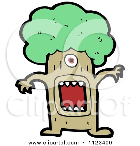 Fantasy Cartoon Of A Monster Tree - Royalty Free Vector Clipart by lineartestpilot