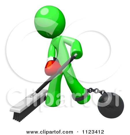 Clipart Of A 3d Sweeping Green Man Attached To A Ball And Chain And Wearing A Boxing Glove - Royalty Free CGI Illustration by Leo Blanchette