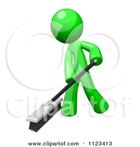 Clipart Of A 3d Sweeping Green Man - Royalty Free CGI Illustration by Leo Blanchette