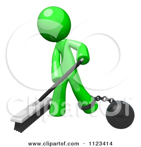 Clipart Of A 3d Sweeping Green Man Attached To A Ball And Chain - Royalty Free CGI Illustration by Leo Blanchette