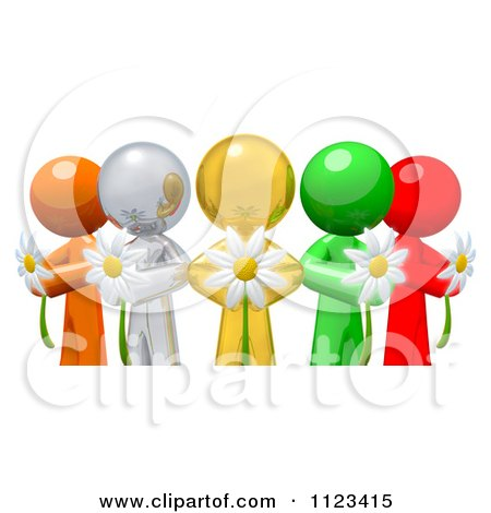 Clipart Of A 3d Colorful Diverse People Holding Flowers - Royalty Free CGI Illustration by Leo Blanchette