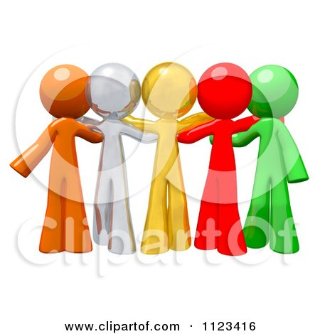 Clipart Of A 3d Colorful Diverse People Standing Together - Royalty Free CGI Illustration by Leo Blanchette