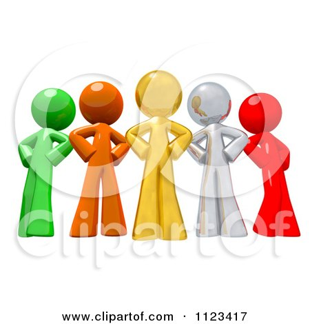 Clipart Of A 3d Colorful Diverse People With Their Hands On Their Hips - Royalty Free CGI Illustration by Leo Blanchette