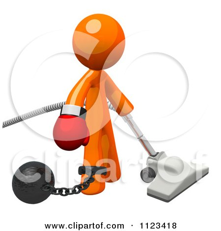 Clipart Of A 3d Vacuuming Orange Man Attached To A Ball And Chain And Wearing A Boxing Glove - Royalty Free CGI Illustration by Leo Blanchette
