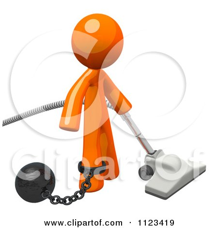 Clipart Of A 3d Vacuuming Orange Man Attached To A Ball And Chain - Royalty Free CGI Illustration by Leo Blanchette