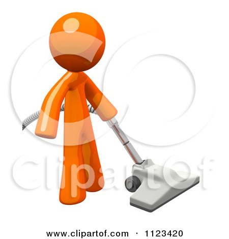 Clipart Of A 3d Vacuuming Orange Man - Royalty Free CGI Illustration by Leo Blanchette