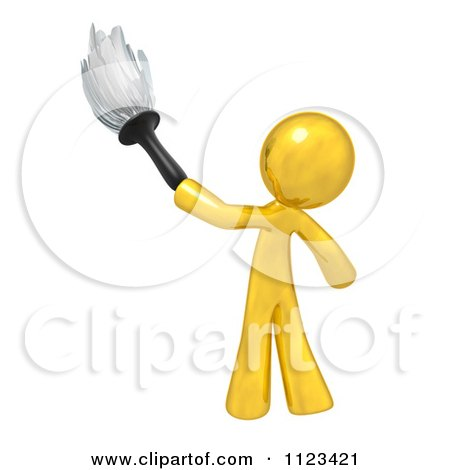 Clipart Of A 3d Gold Man Janitor Cleaning With A Feather Duster - Royalty Free CGI Illustration by Leo Blanchette