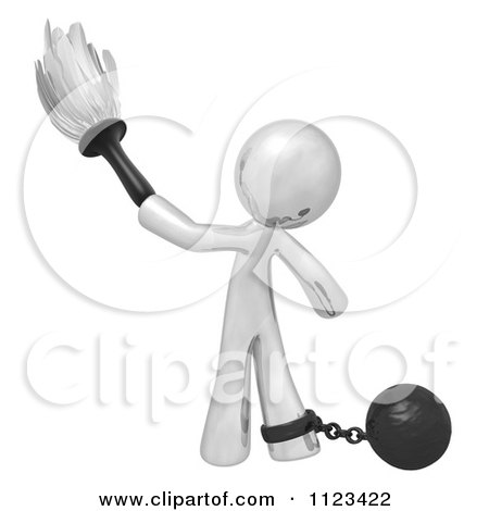 Clipart Of A 3d Dusting Silver Man Attached To A Ball And Chain - Royalty Free CGI Illustration by Leo Blanchette