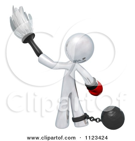 Clipart Of A 3d Dusting Silver Man With A Boxing Glove Attached To A Ball And Chain - Royalty Free CGI Illustration by Leo Blanchette