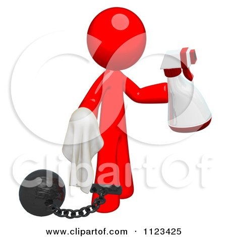 Clipart Of A 3d Cleaning Red Man Using A Spray Bottle And Cloth Attached To A Ball And Chain - Royalty Free CGI Illustration by Leo Blanchette