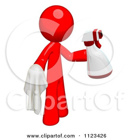 Clipart Of A 3d Cleaning Red Man Using A Spray Bottle And Cloth - Royalty Free CGI Illustration by Leo Blanchette
