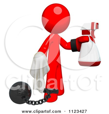 Clipart Of A 3d Cleaning Red Man Wearing A Boxing Glove Using A Spray Bottle And Cloth Attached To A Ball And Chain - Royalty Free CGI Illustration by Leo Blanchette