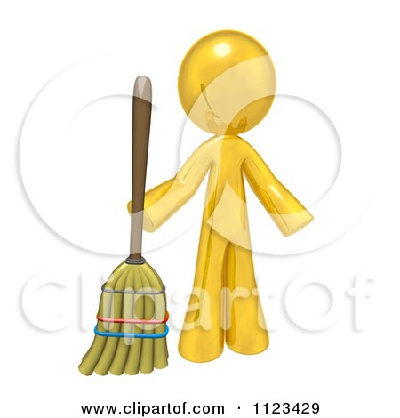 Clipart Of A 3d Gold Man Holding A Broom - Royalty Free CGI Illustration by Leo Blanchette