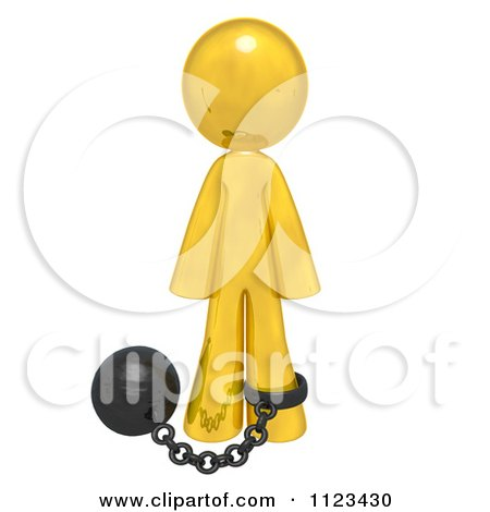Clipart Of A 3d Gold Man Attached To A Ball And Chain - Royalty Free CGI Illustration by Leo Blanchette