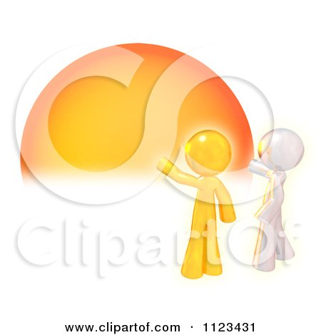 Clipart Of A 3d Silver And Gold Man Knocking On The Sun - Royalty Free CGI Illustration by Leo Blanchette