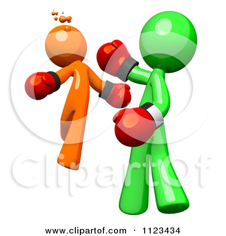 Clipart Of A 3d Green Man Boxer Knocking Out An Orange Opponent - Royalty Free CGI Illustration by Leo Blanchette