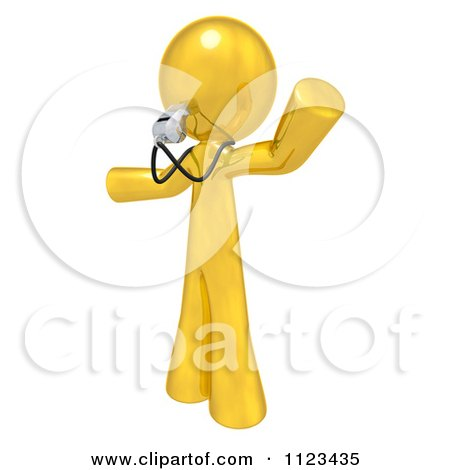 Clipart Of A 3d Gold Man Coach Or Referee Blowing A Whistle - Royalty Free CGI Illustration by Leo Blanchette