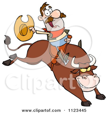 Cartoon Of A Rodeo Cowboy On A Bucking Bull Royalty Free Vector Clipart