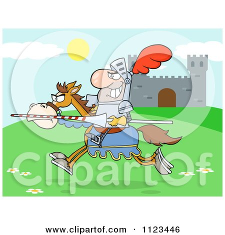 Cartoon Of A Charging Jousting Knight Near A Castle - Royalty Free Vector Clipart by Hit Toon