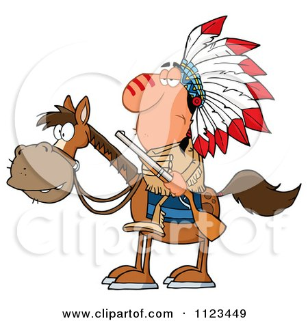 Cartoon Of A Native American Indian Chief On Horseback With A Rifle - Royalty Free Vector Clipart by Hit Toon