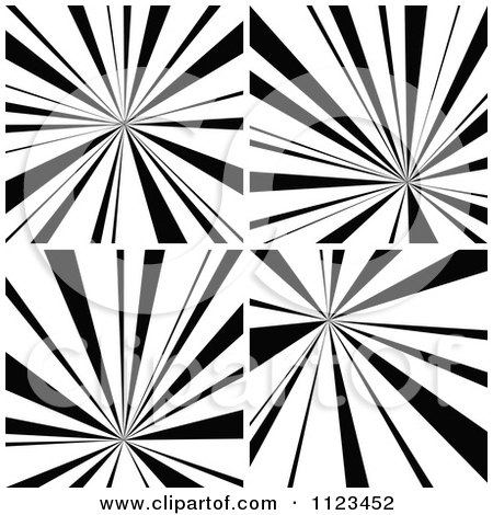 Clipart Of Black And White Sunbeam Ray Backgrounds - Royalty Free Vector Illustration by dero