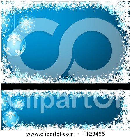 Clipart Of Blue Bauble Christmas Banners - Royalty Free Vector Illustration by dero